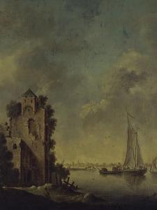 Ruines au bord d'une rivière by Jan Van Goyen