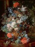 Hollyhocks and Other Flowers in a Vase, 1702-20-Jan van Huysum-Giclee Print