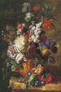 Bouquet Of Flowers In An Urn by Jan van Huysum