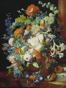 Flower Bouquet Next to a Column by Jan van Huysum