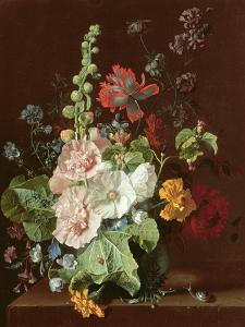 Hollyhocks and Other Flowers in a Vase, 1702-20 by Jan van Huysum