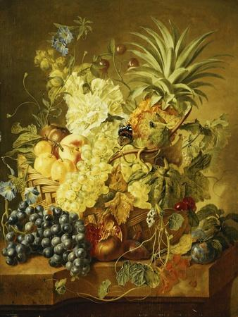 Plums, a Peach, Grapes, a Melon, a Pineapple, a Fig, Currants, Cherries and Flowers in a Basket,…