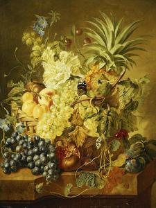 Plums, a Peach, Grapes, a Melon, a Pineapple, a Fig, Currants, Cherries and Flowers in a Basket,… by Jan van Huysum