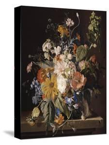 Poppies, Hollyhock, Morning Glory, Viola, Daisies, Sweet Pea, Marigolds and Other Flowers in a Vase by Jan van Huysum