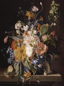 Poppies, Hollyhock, Morning Glory, Viola, Daisies, Sweet Pea, Marigolds and Other Flowers in a Vase by Jan van Huysum
