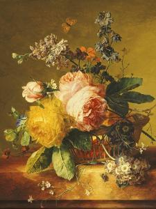 Roses and Other Flowers in a Basket on a Marble Ledge, C.1742 by Jan van Huysum