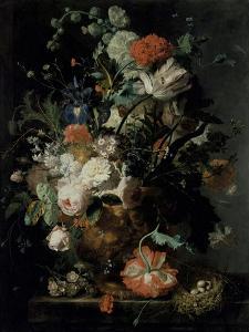 Roses, Flowers, Carnations by Jan van Huysum
