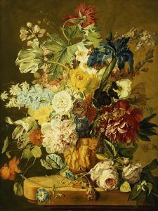 Roses, Peonies, Tulips, Morning Glory, an Iris, Columbine, a Poppy, Jonquils and Other Flowers in… by Jan van Huysum