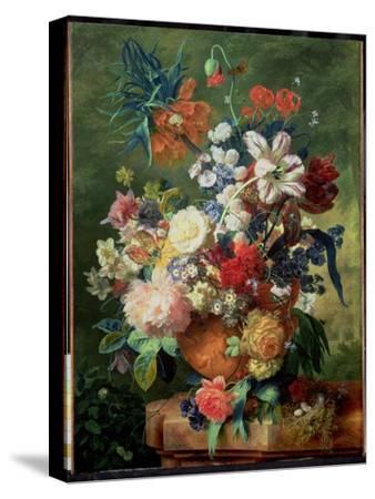 Still Life of Flowers and a Bird's Nest on a Pedestal