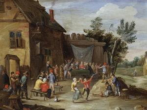 A Wedding Feast in the Courtyard of a Village Inn by Jan van Kessel