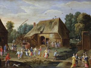Gentry at a Peasant Dance in a Farmyard by Jan van Kessel