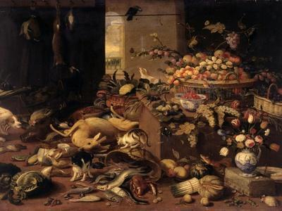 Still Life (Interior with Game, Fish, Fruit, Flowers, Cats and Dogs), 1645-79