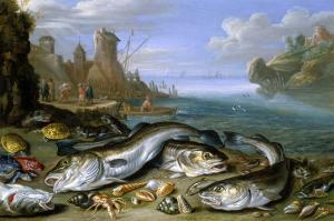 The Day's Catch on the Seashore by Jan van Kessel