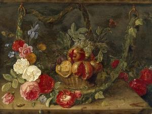 Decorative Still-Life Composition with a Basket of Fruit by Jan van Kessel the Elder