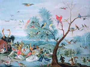 Tropical Birds in a Landscape by Jan van Kessel