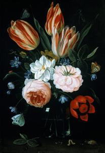 Tulips and Roses in a Glass Vase by Jan van Kessel