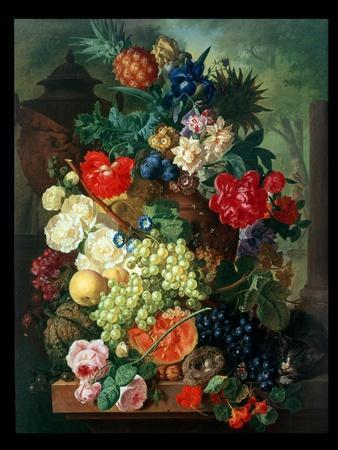 Mixed Flowers and Pineapples in an Urn with a Bird's Nest and a Cat