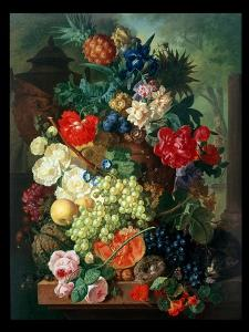 Mixed Flowers and Pineapples in an Urn with a Bird's Nest and a Cat by Jan van Os