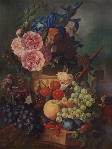 'Ornamental Vase of Flowers and Fruit', c1798, (1938) by Jan van Os