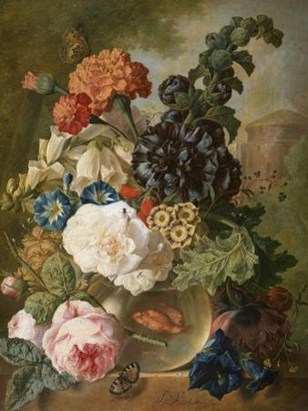 Roses, Chrysanthemums, Peonies and Other Flowers in a Glass Vase with Goldfish on a Stone Ledge
