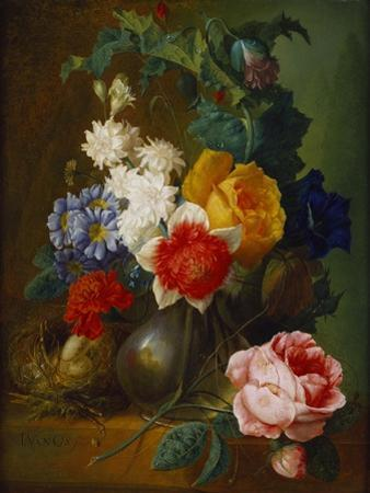 Roses, Poppies, Morning Glory and Other Flowers in a Vase with a Bird's Nest on a Ledge