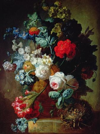 Still Life, Flowers and Bird's Nest