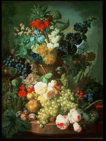 Still Life Mixed Flowers and Fruit with Bird's Nest
