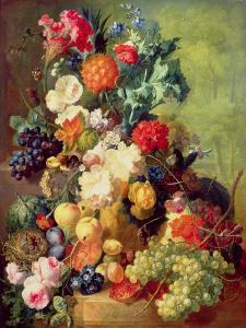 Still Life with Flowers and Fruit by Jan van Os