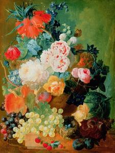 Still Life with Fruit, Flowers and Bird's Nest by Jan van Os