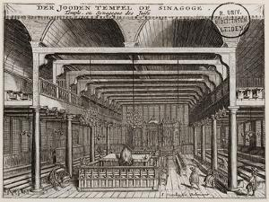 Interior of the Portuguese Synagogue in Amsterdam by Jan Veenhuysen
