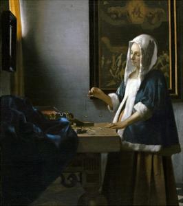 Woman Holding a Balance by Jan Vermeer by Jan Vermeer