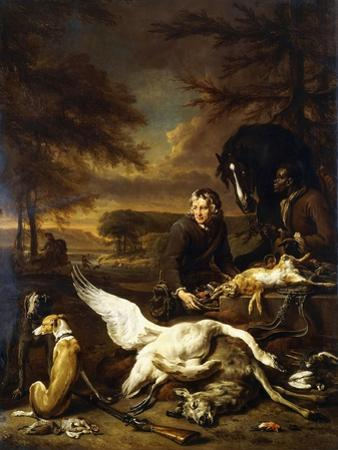 The Spoils of a Hunt with a Hunt Servant and a Black Page Holding a Bay, 1700
