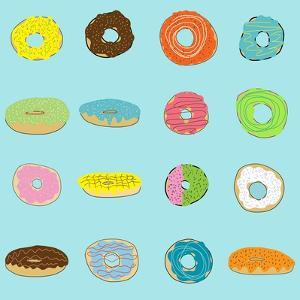 16 Donuts on Aqua by Jan Weiss