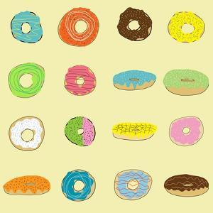 16 Donuts on Yellow by Jan Weiss