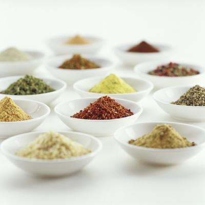 Spices, Spice Mixtures and Marinades in Small Bowls
