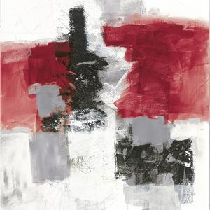 Action II Red Black Sq by Jane Davies