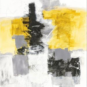 Action II Yellow and Black Sq by Jane Davies