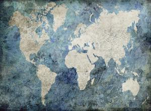World Map Blue by Jane Fox