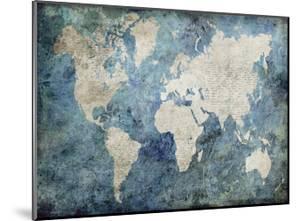 World Map Blue by Jane Fox