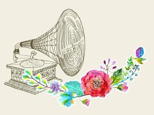 Vintage Gramophone, Record Player Background with Floral Ornament, Beautiful Illustration with Wate by Jane_Lane