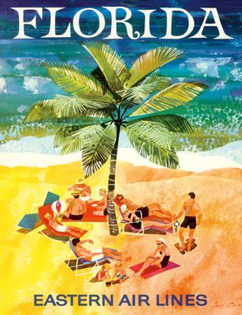 Florida - Eastern Air Lines - Sunbathers around Palm Tree by Jane Oliver