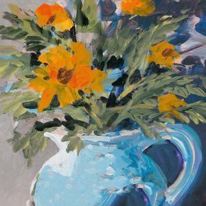 Orange Daisies In Blue Vase by Jane Slivka