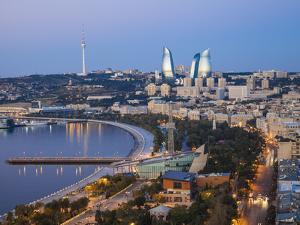 Azerbaijan, Baku, View of City Looking Towards the Baku Business Center on the Bulvur by Jane Sweeney
