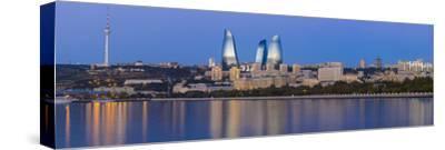 Azerbaijan, Baku, View of the Flame Towers Reflecting in the Caspian Sea