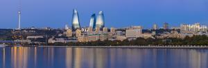 Azerbaijan, Baku, View of the Flame Towers Reflecting in the Caspian Sea by Jane Sweeney