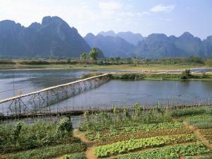 Bamboo Bridge, Vang Vieng, Laos, Indochina, Southeast Asia by Jane Sweeney