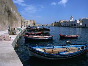 Boats Moored in Harbour, Bizerte, Bizerte, Tunisia by Jane Sweeney