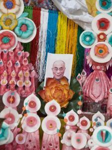 Butter Sculptures Suround Photo of the Dalai Lama, Kathok Wodsallin Gompa, Yuksam, Sikkim, India by Jane Sweeney