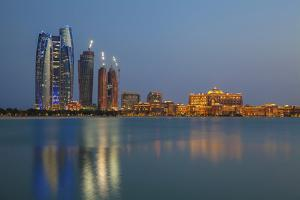 City Skyline Looking Towards the Emirates Palace Hotel and Etihad Towers by Jane Sweeney
