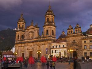 Colombia, Bogota, Plaza De Bolivar, Neoclassical Cathedral Primada De Colombia at Christmas by Jane Sweeney